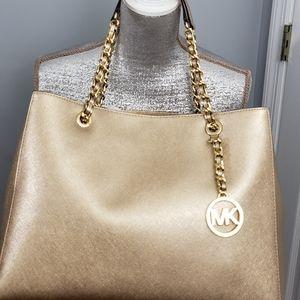 💥Michael Kors Gold Shoulder Leather Handbag